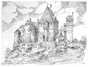 Burg Rodenstein – Strichzeichnung von Herrn Potratz